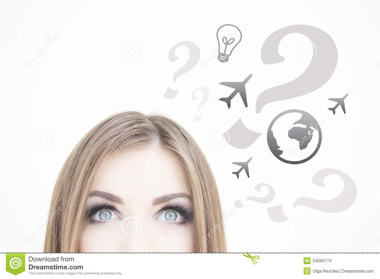 Young thoughtful business woman looking up at ideas symbols