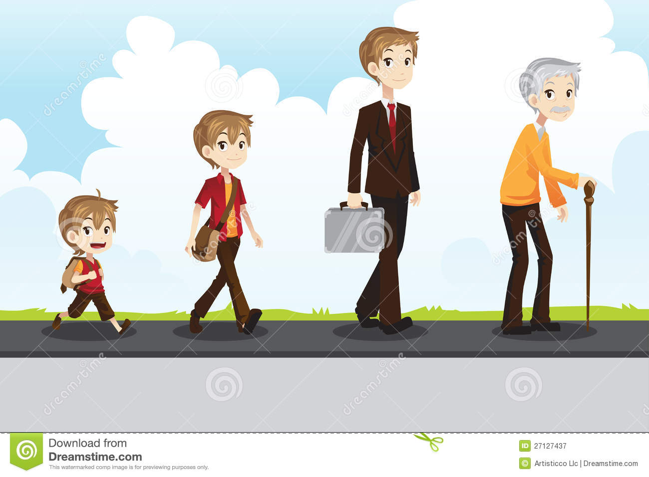 Young And Old Cartoon Young to old stock vec...
