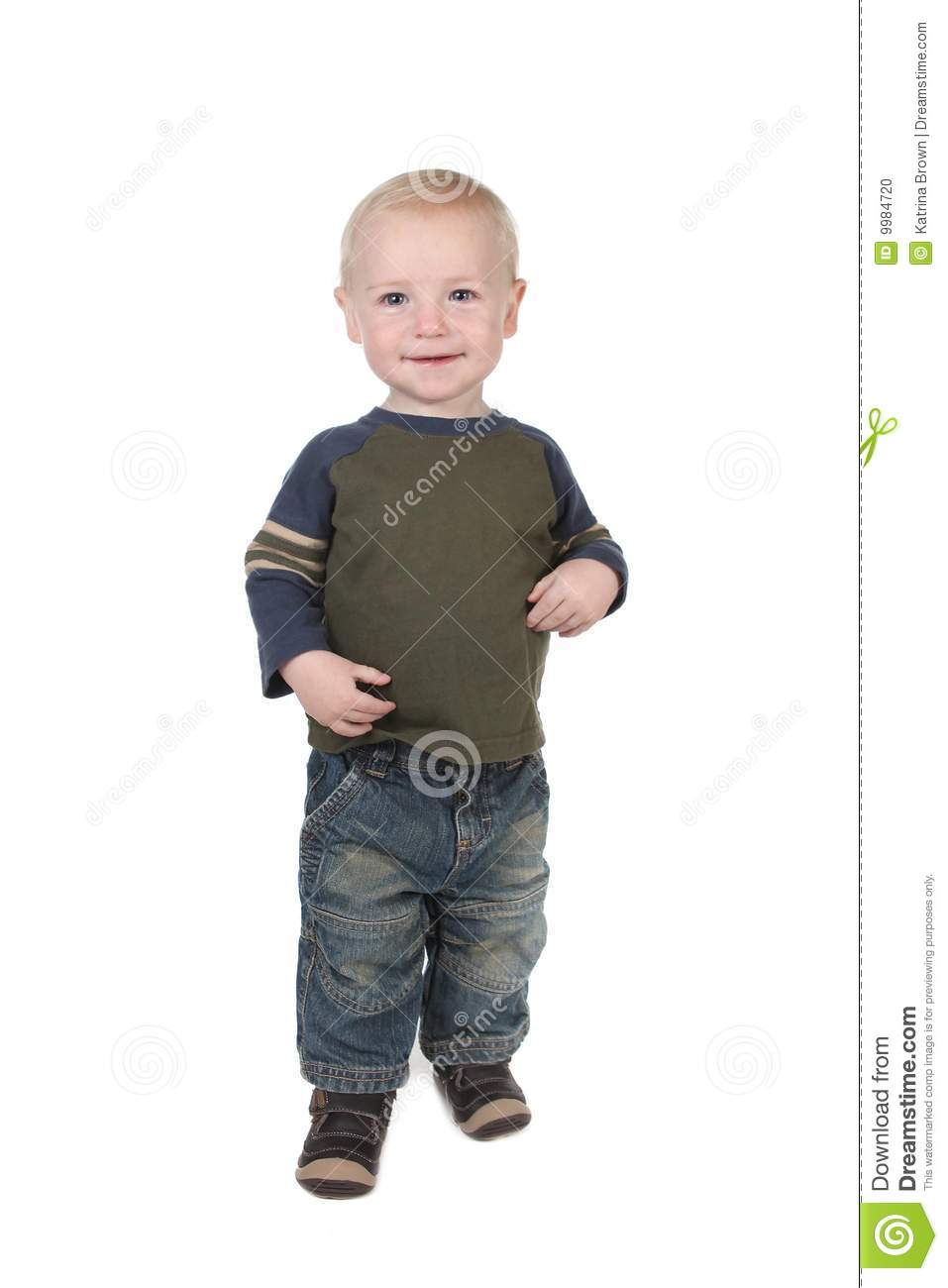 Young Toddler Boy Standing Stock Photo Image Of Innocent