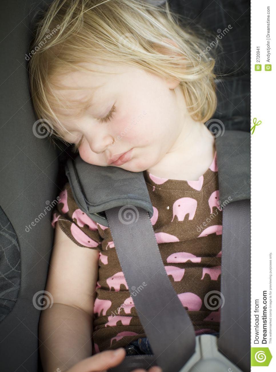 Young Toddler Girl In Car Seat