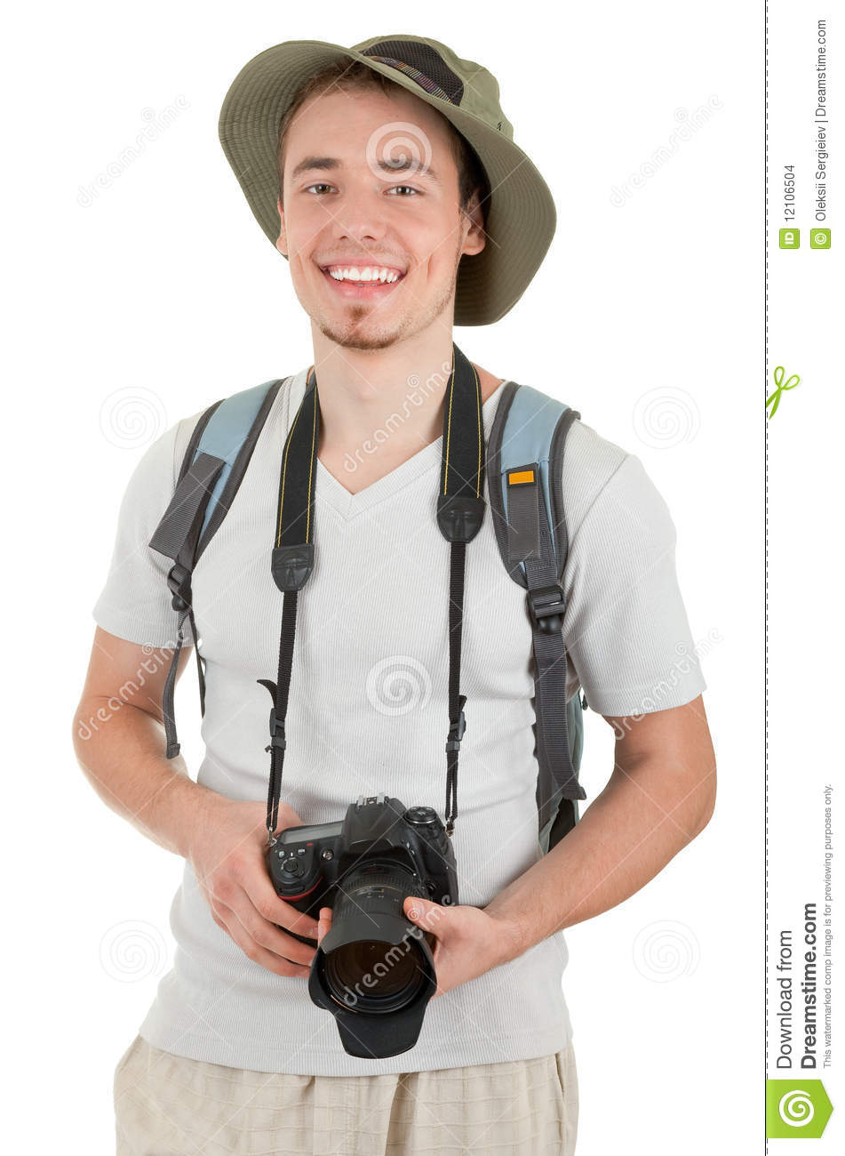 young tourist with camera stock images image 12106504