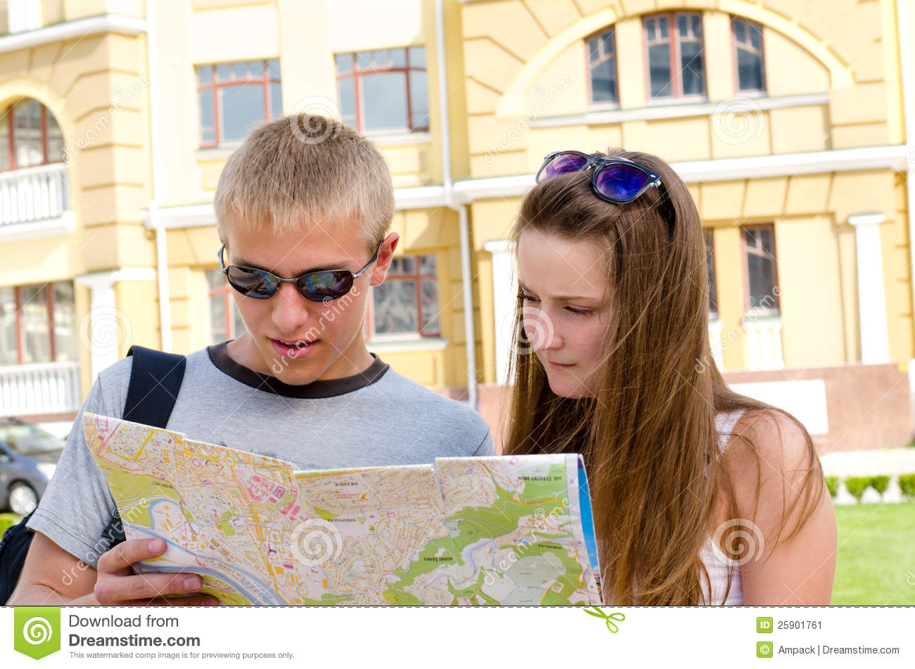 Young Tourists Consulting A Map Stock Image - Image of ... on
