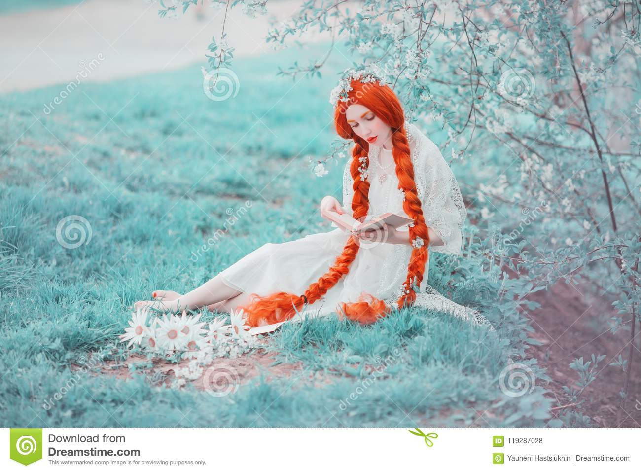 Young unusual redhead renaissance girl with curly hair braided in plait on a spring background. Beautiful woman with pale skin
