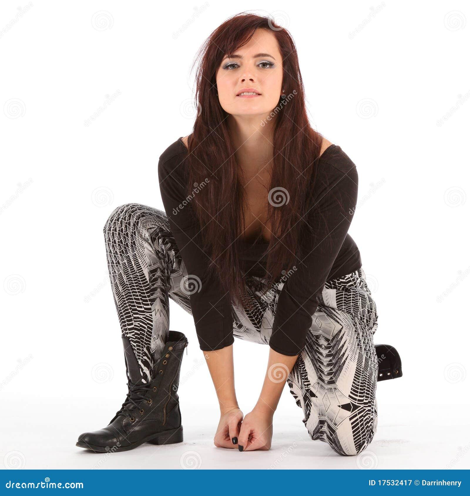 Modern Urban Black Girl: Young Urban Dance Girl In Black Boots Kneeling Stock Image