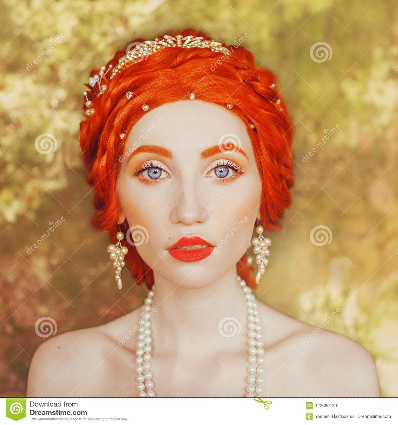 d81fe4eb0d7 Young victorian redhead princess with freckles in castle. Fabulous portrait  of rococo queen against backdrop