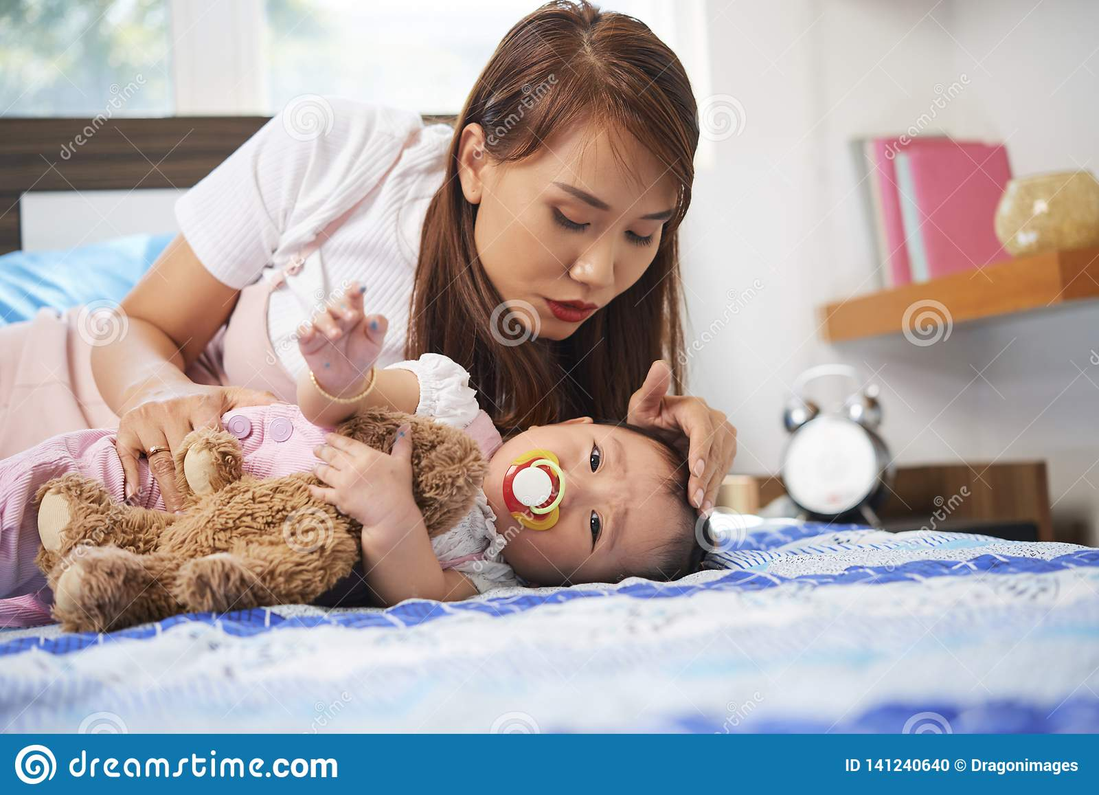 Mother And Baby Girl Stock Photo Image Of Stroking 141240640
