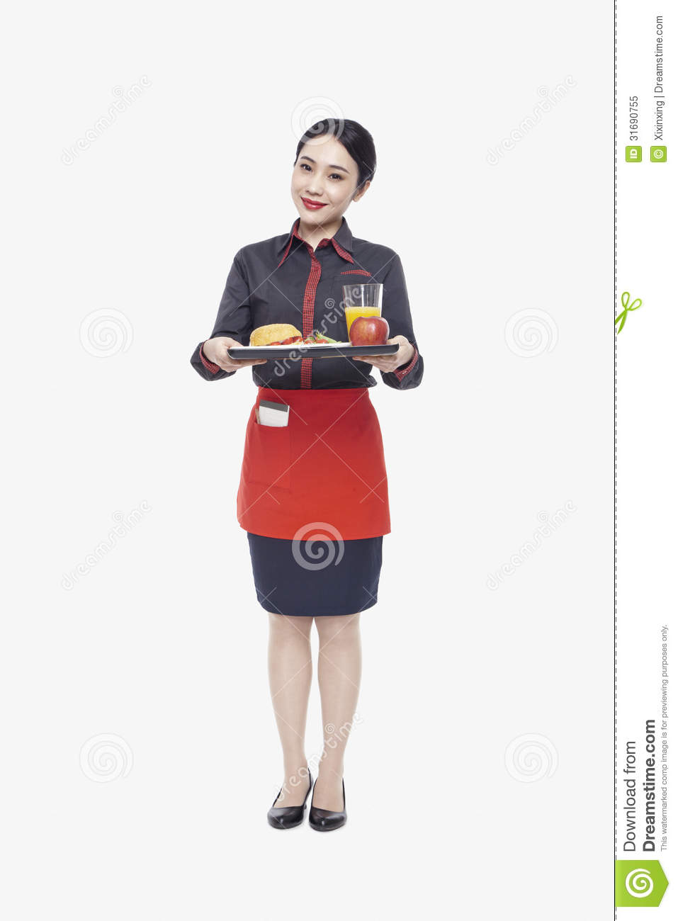 Young Waitress Carrying Tray With Food Studio Shot