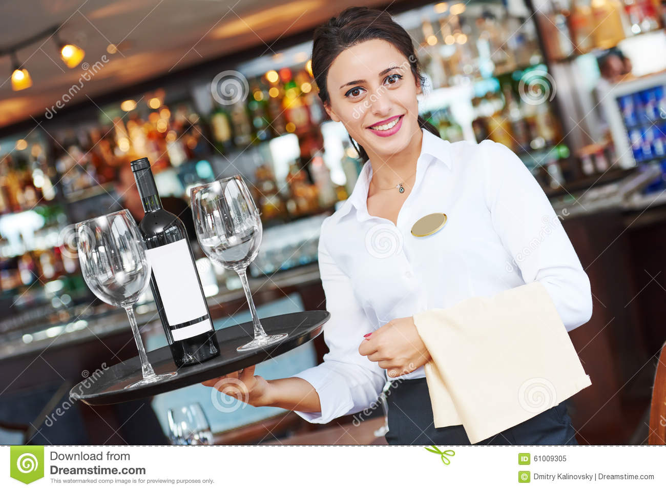 Waiter Restaurant Catering Service Female Cheerful Worker With Tray Glasses And Bottle Of Wine