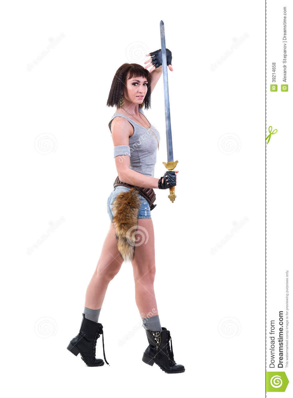 Young Warrior Woman Holding Sword Royalty Free Stock