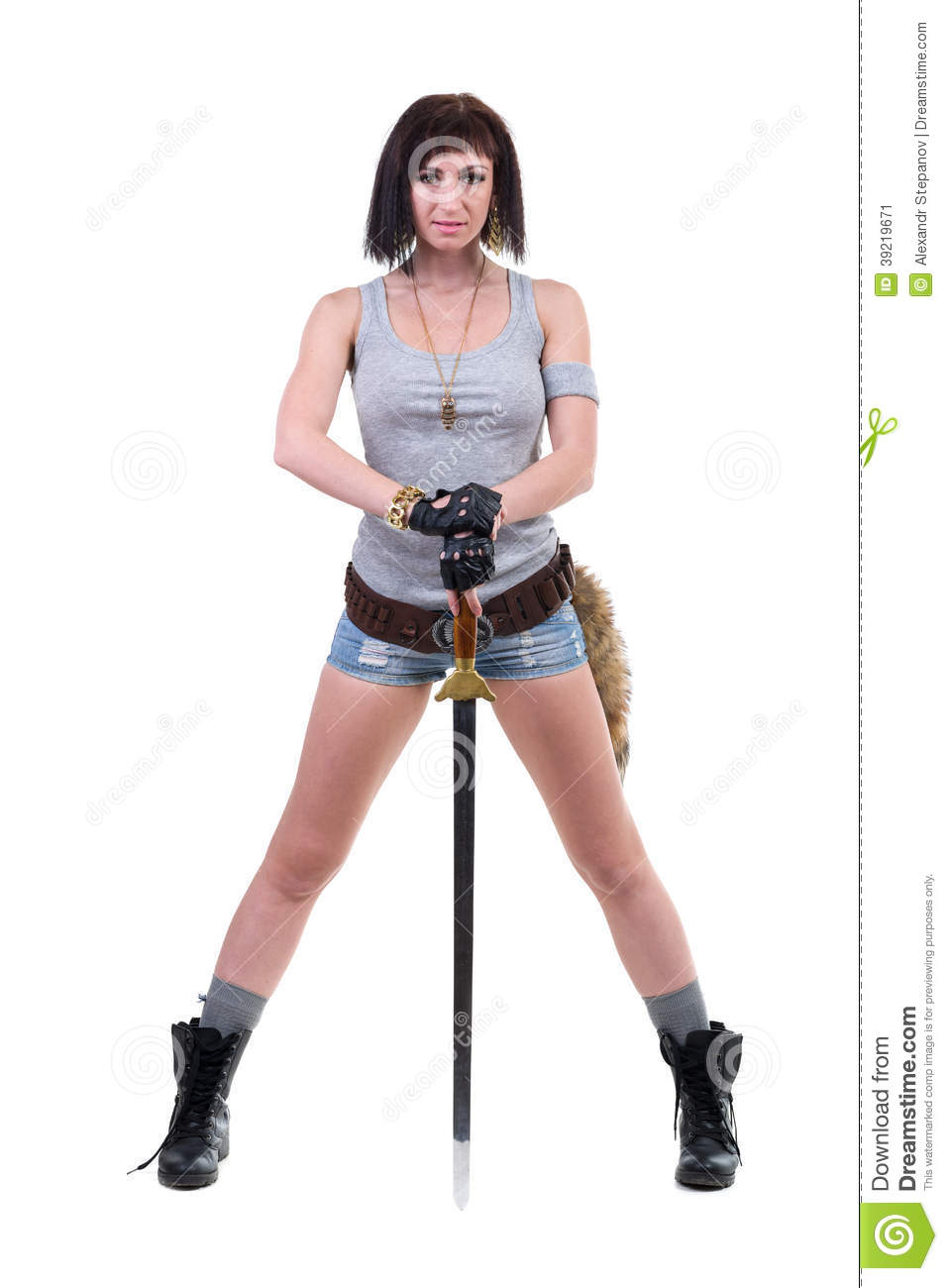 Young Warrior Woman Holding Sword Stock Photo Image