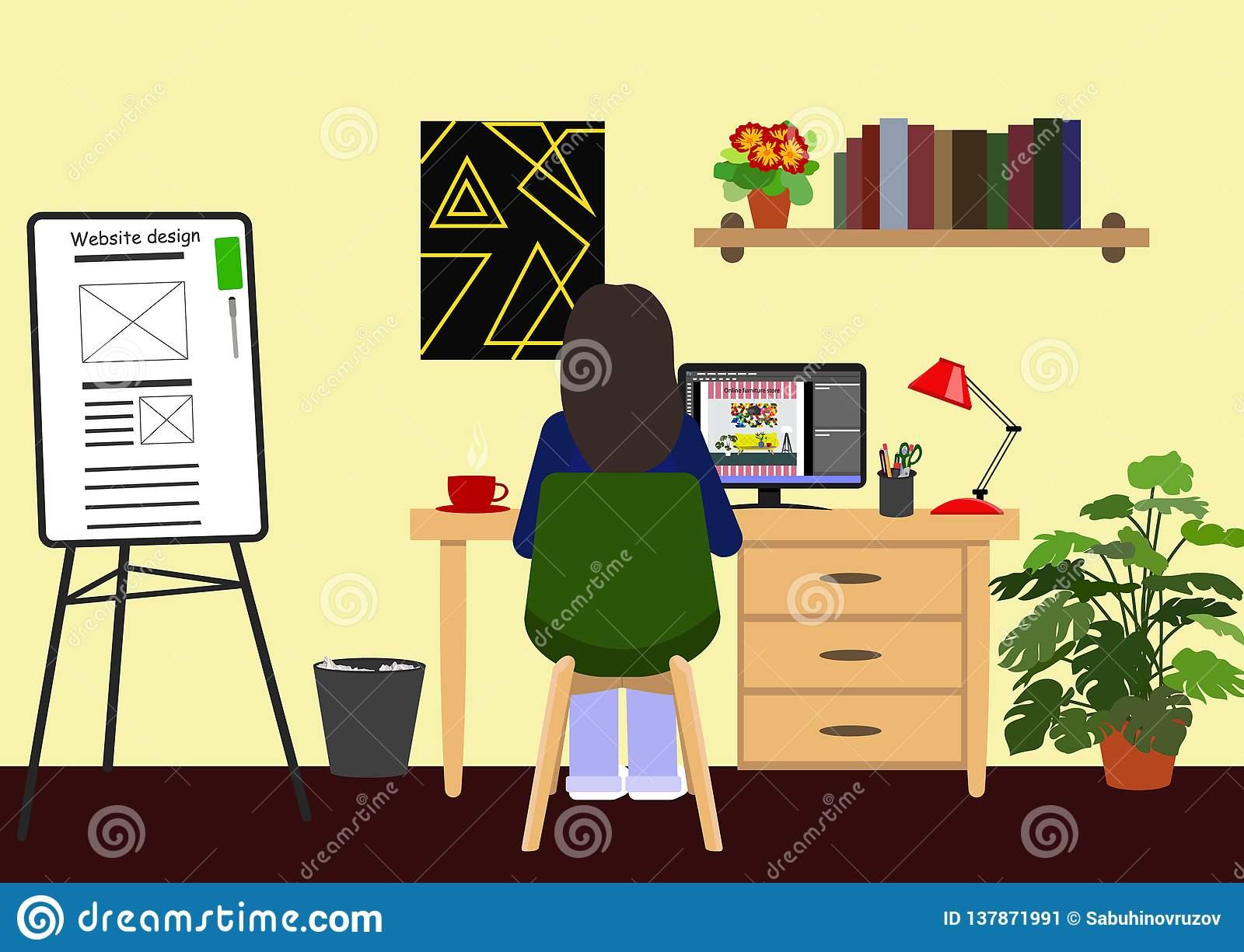 Young Web Designer Girl Working At Computer In Studio Young Girl Does Her Homework Workplace Of Freelancer Or Employee Stock Vector Illustration Of Process Designer 137871991