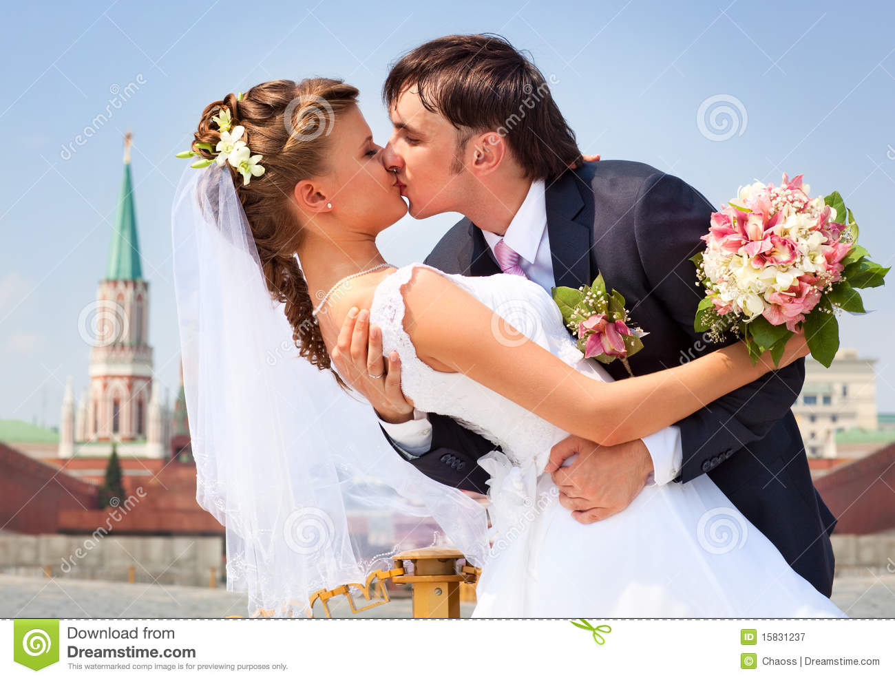 Young Wedding Couple Kissing Stock Image Image Of Kiss Hands