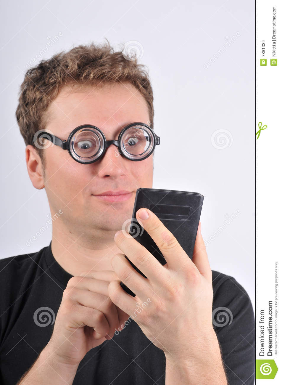 Young Weird Man Holding Calculator Royalty Free Stock Images Image 7881339