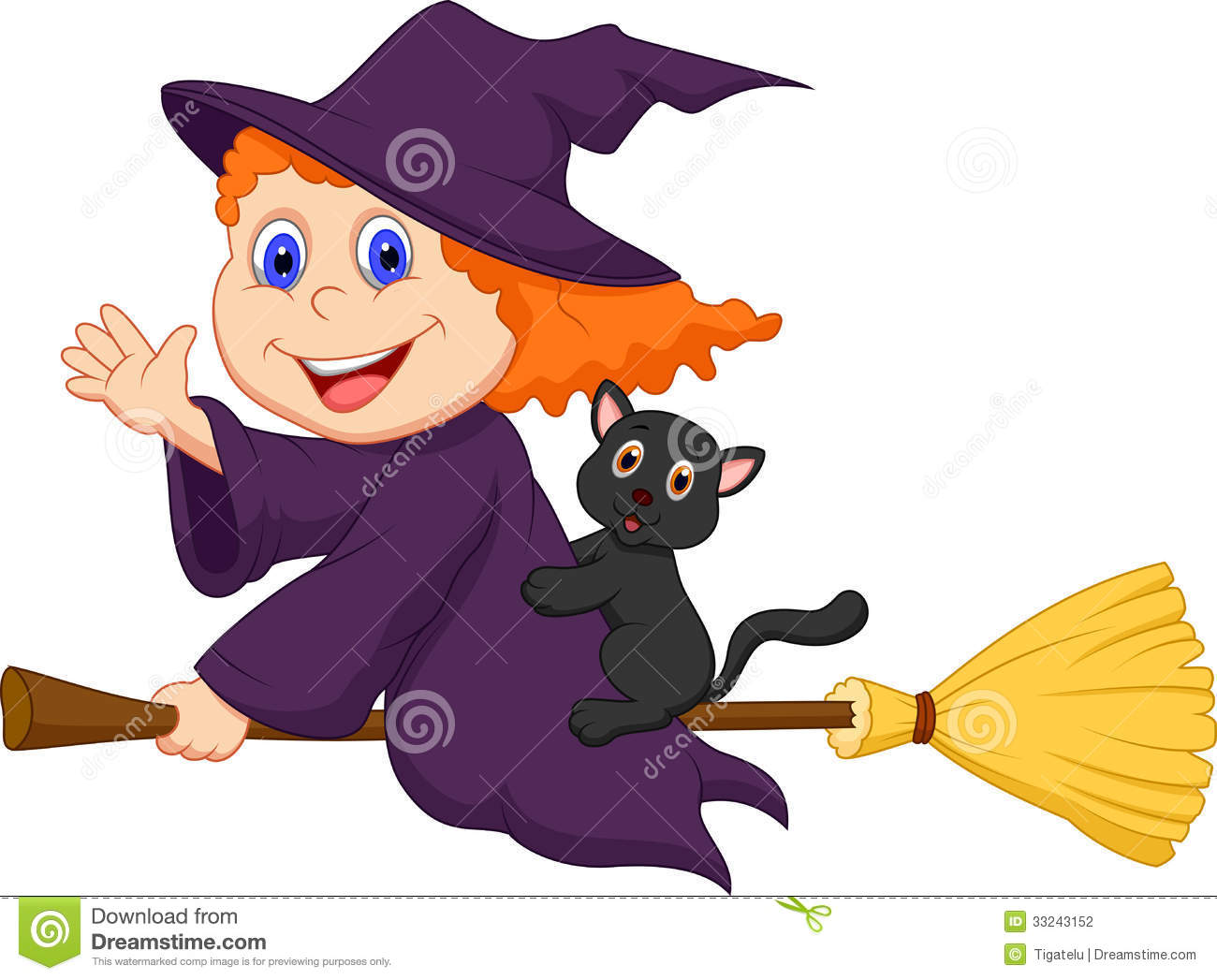 young witch cartoon flying on on her broom stock photography