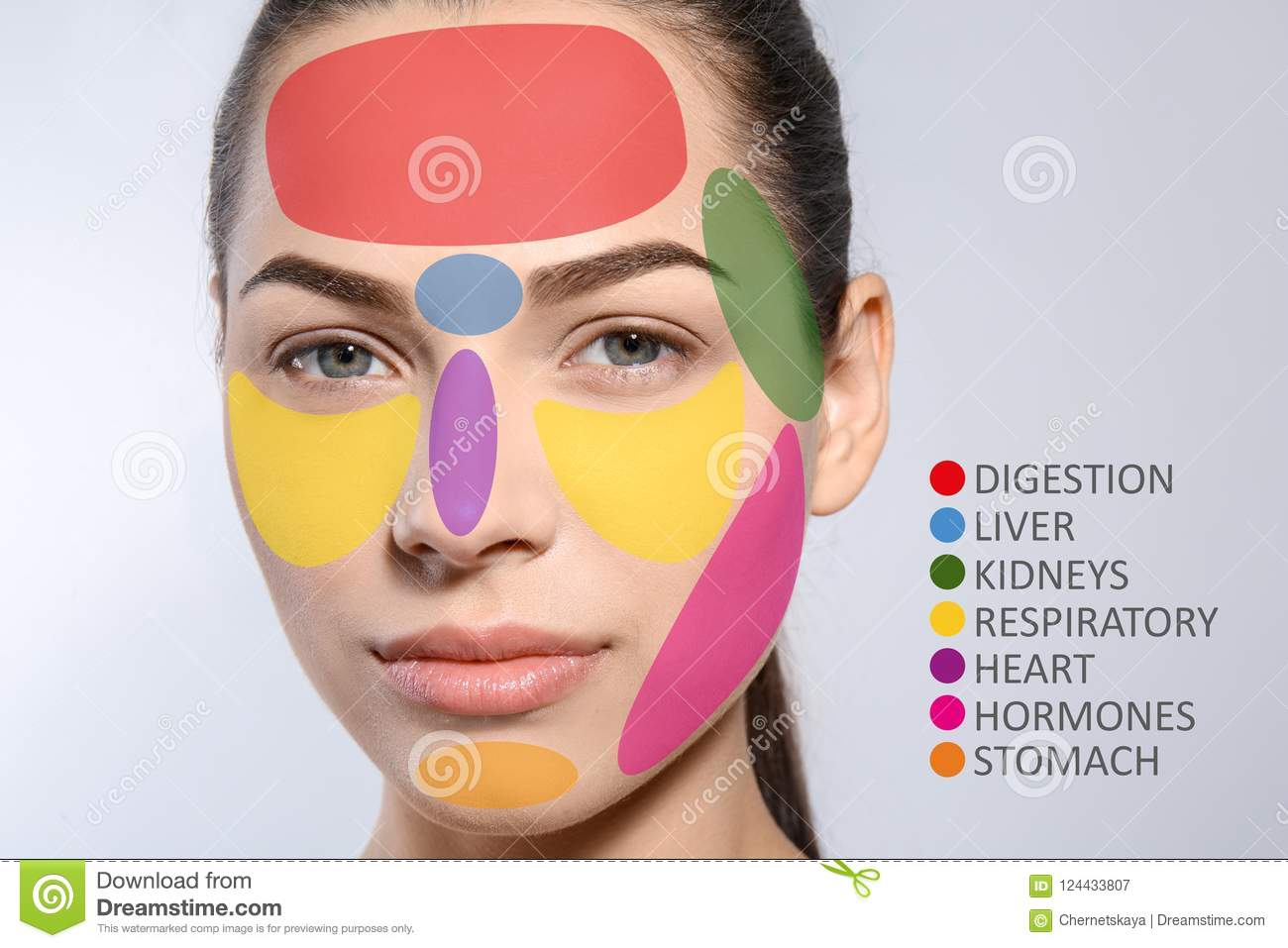 Young Woman With Acne Face Map Stock Image Image Of Dermatology - Face map for acne