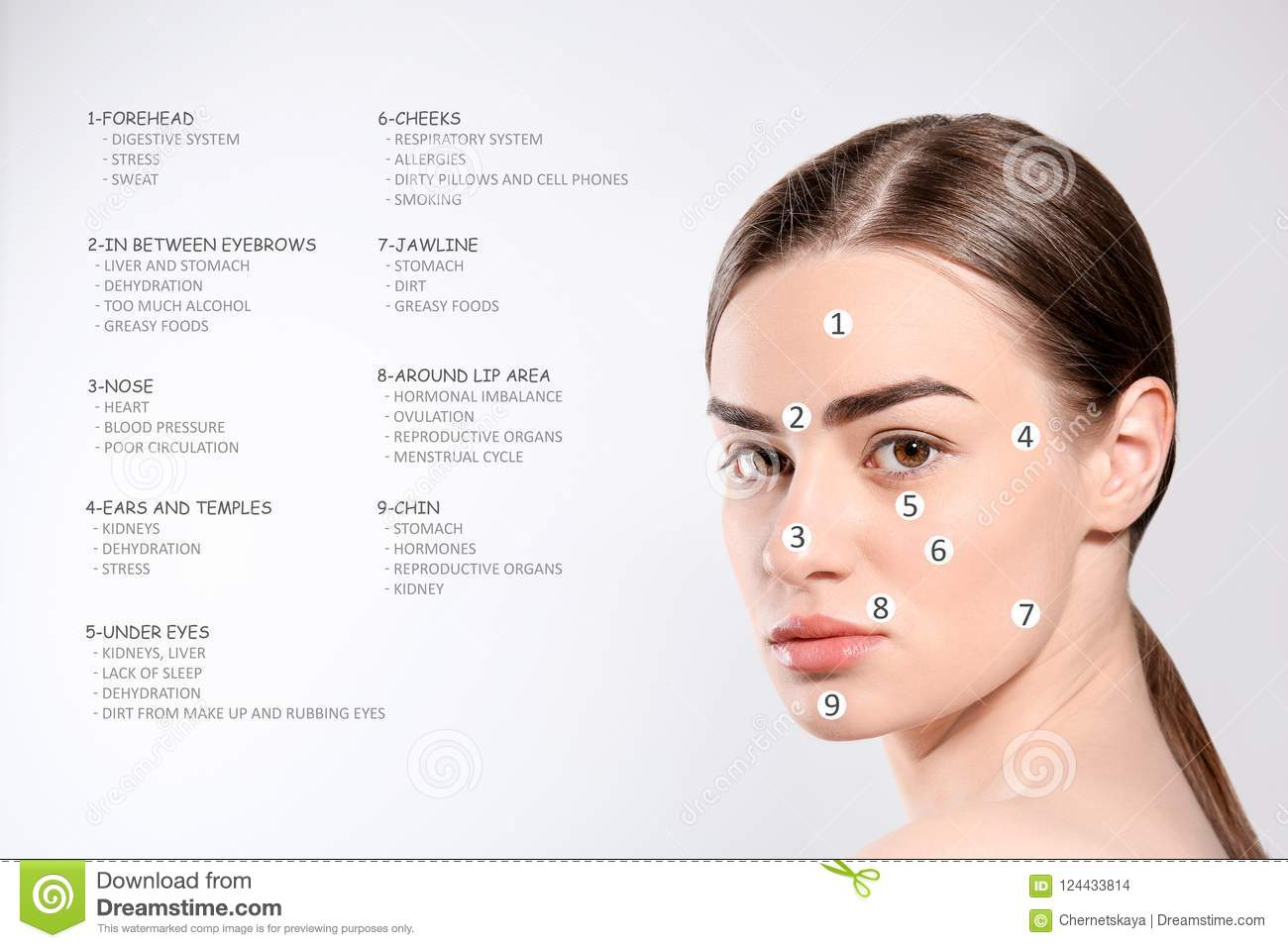 Young Woman With Acne Face Map Stock Photo Image Of Adult - Face map for acne