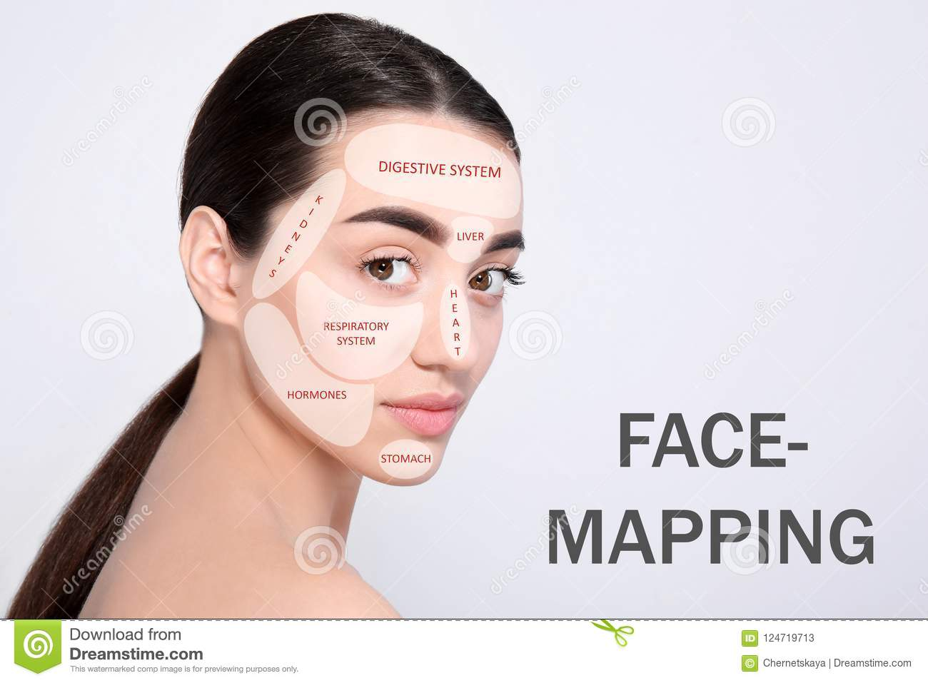 Young Woman With Acne Face Map On Light Background Stock Image ... on