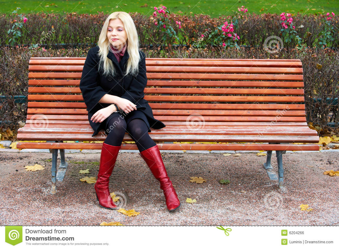 Girl Sitting Alone On Bench Young Woman Alone Roya...