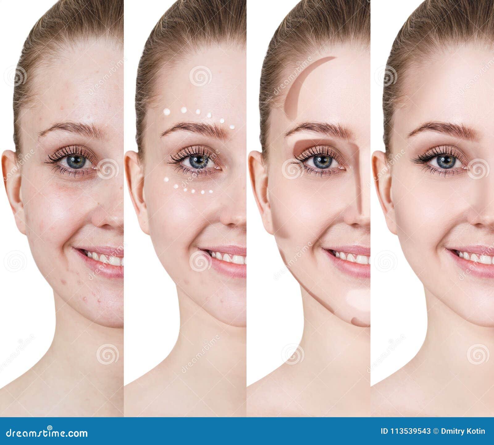 Woman Applying Makeup By Steps Stock Image Image Of Closeup Massaging 113539543