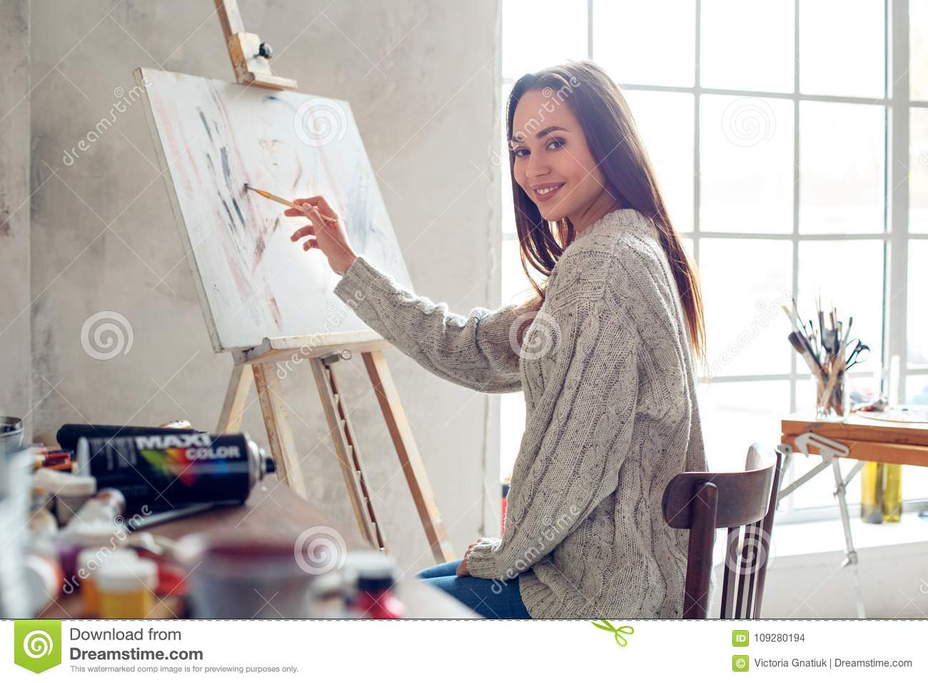 Young Woman Artist Painting At Home Creative Sitting Drawing