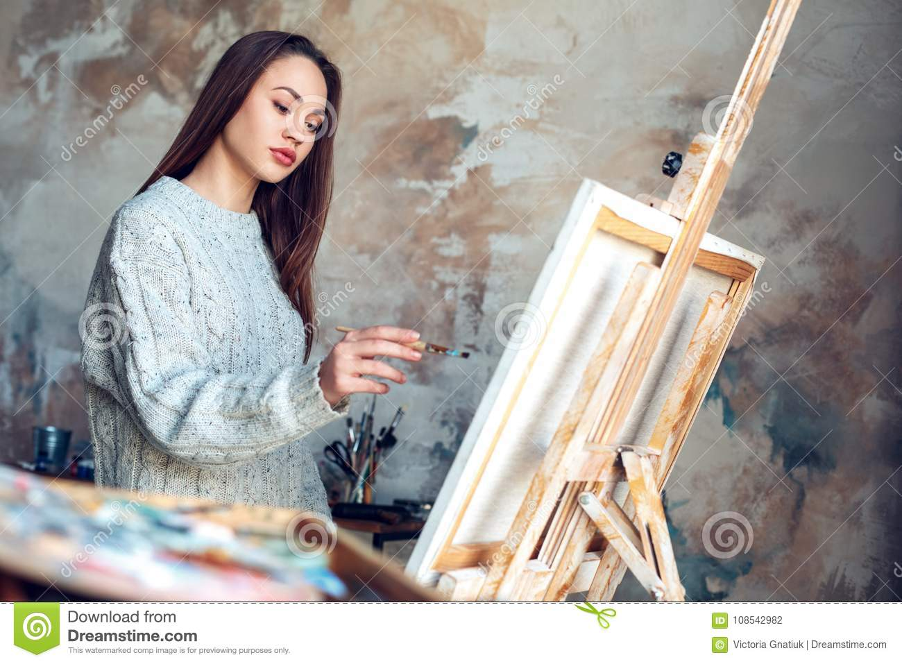Young Woman Artist Painting At Home Creative Standing Making