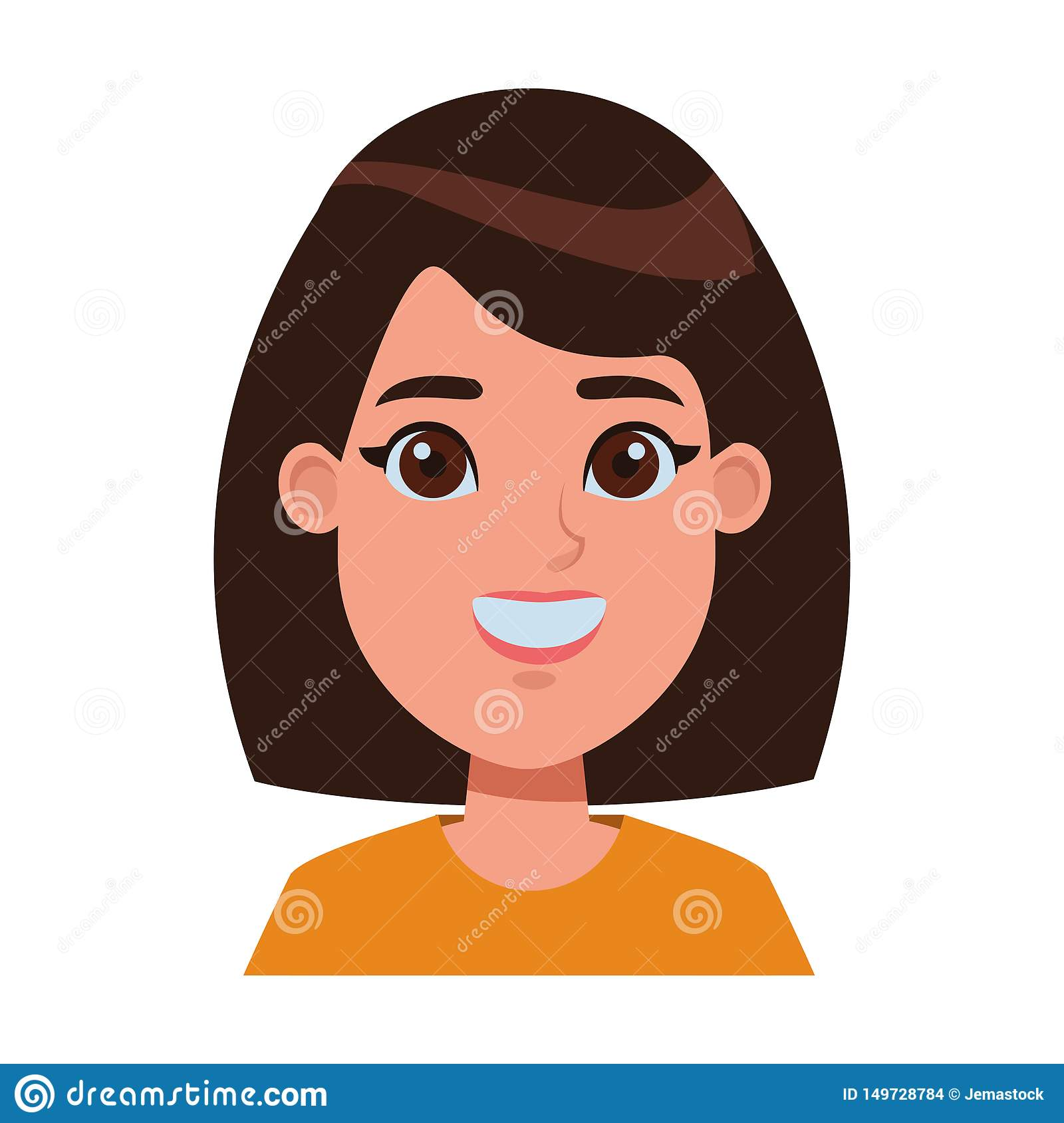Young Woman Avatar Cartoon Character Profile Picture Stock Vector