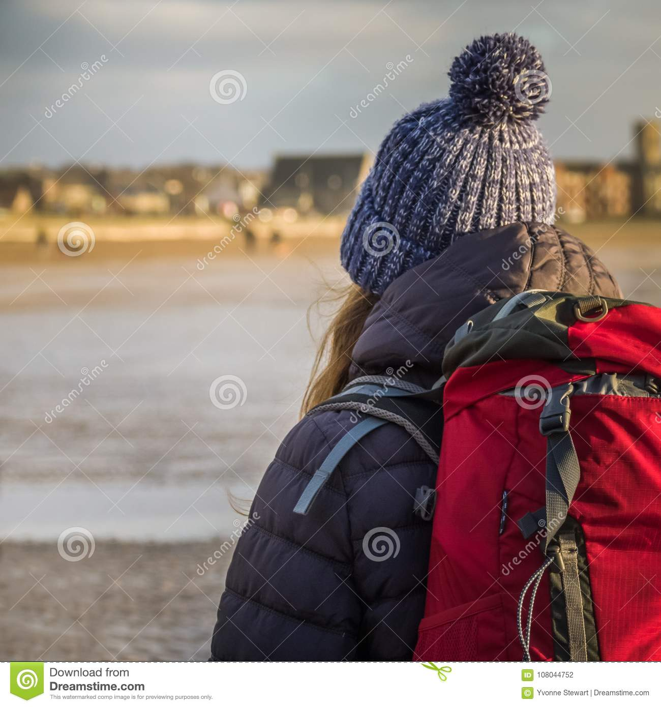 Young Woman Backpacking, Scotland Stock Photo - Image of