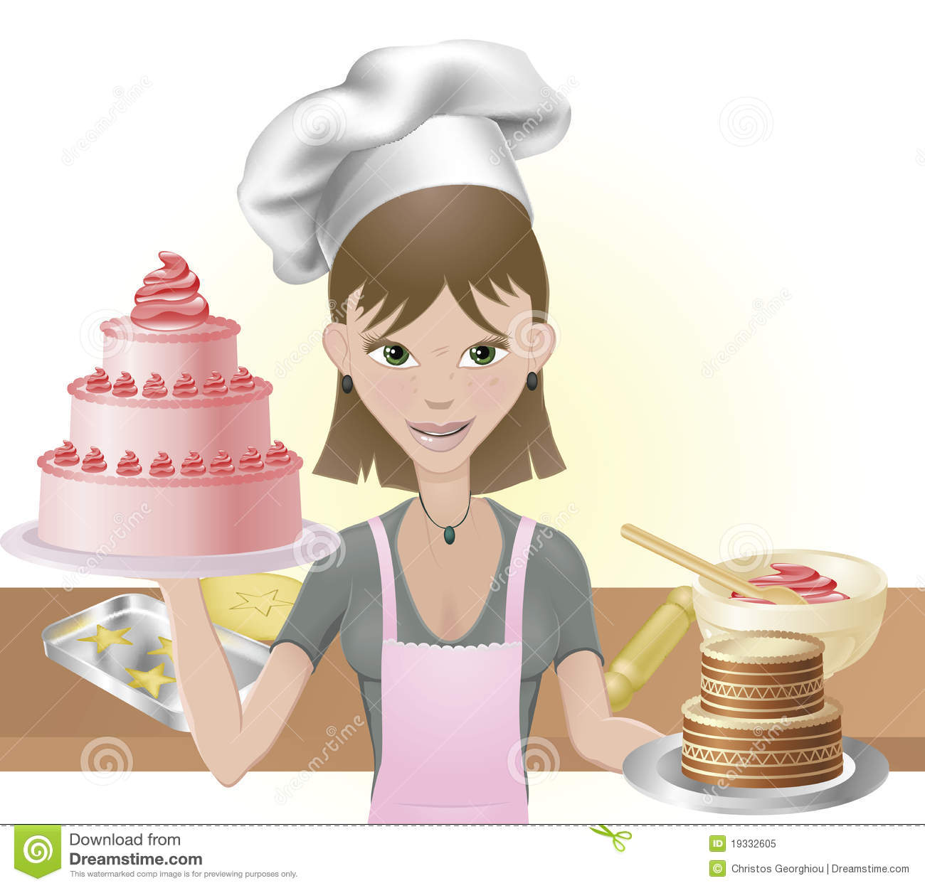 Young Woman Baking A Cakes And Cookies Royalty Free Stock ...