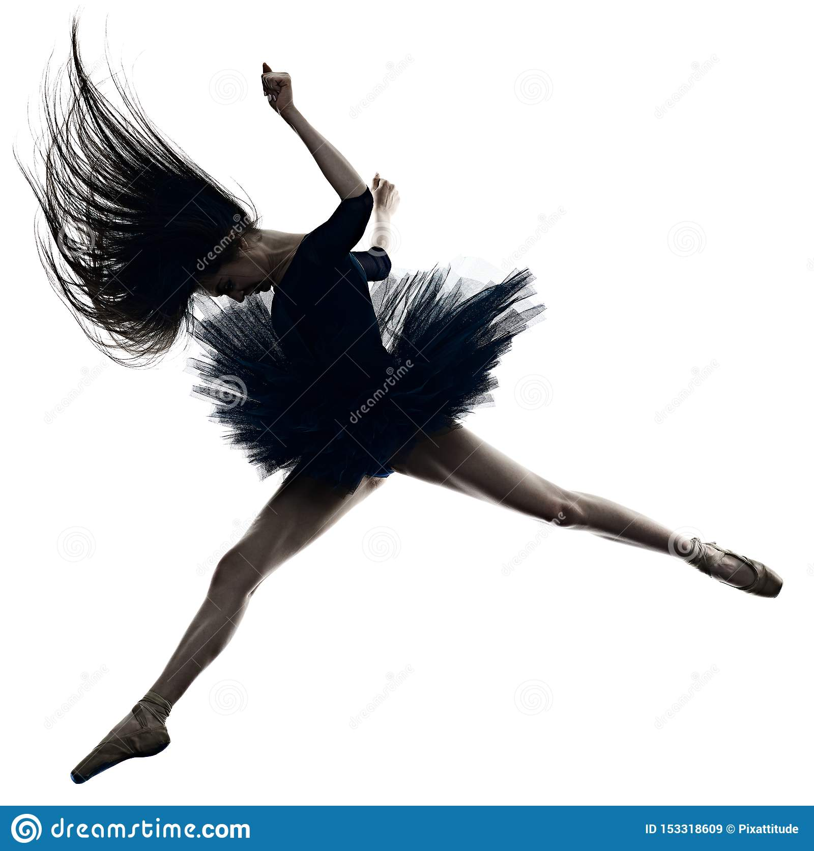 Young Woman Ballerina Ballet Dancer Dancing Isolated White