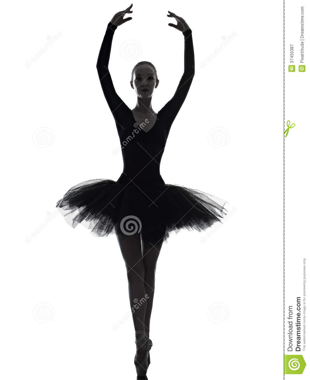 Young Woman Ballerina Ballet Dancer Dancing Silhouette Royalty Free ...