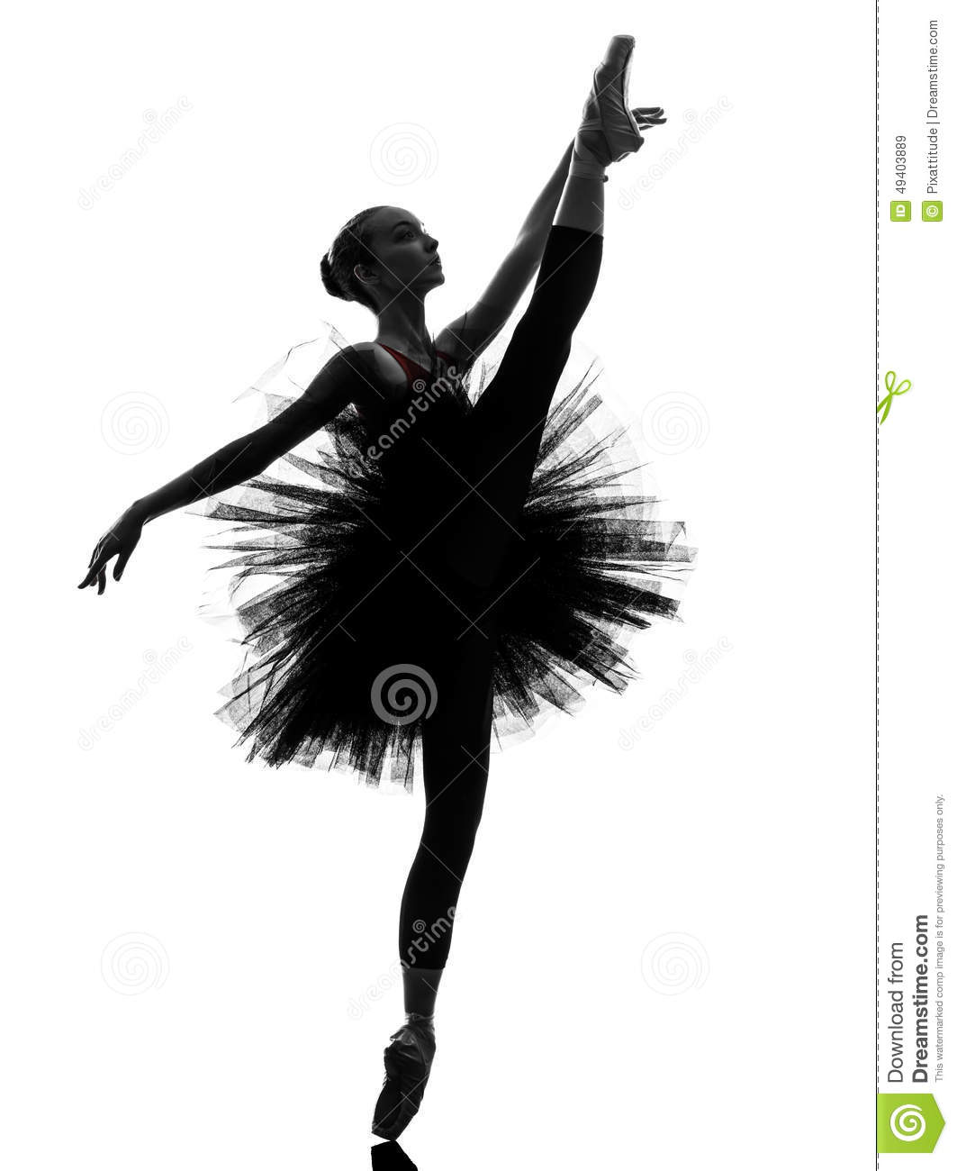 Young Woman Ballerina Ballet Dancer Dancing Silhouette Stock Photo ...