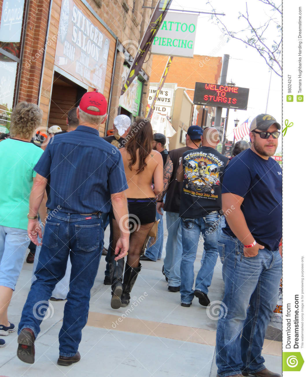 Young woman with bare back during Sturgis, SD 77th Rally