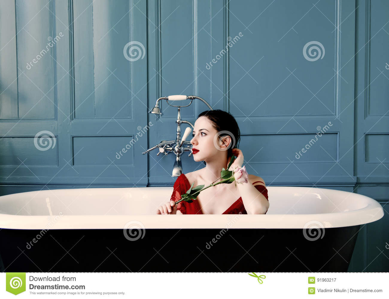 Young Woman In Bath With Flower Stock Image - Image of filter ...