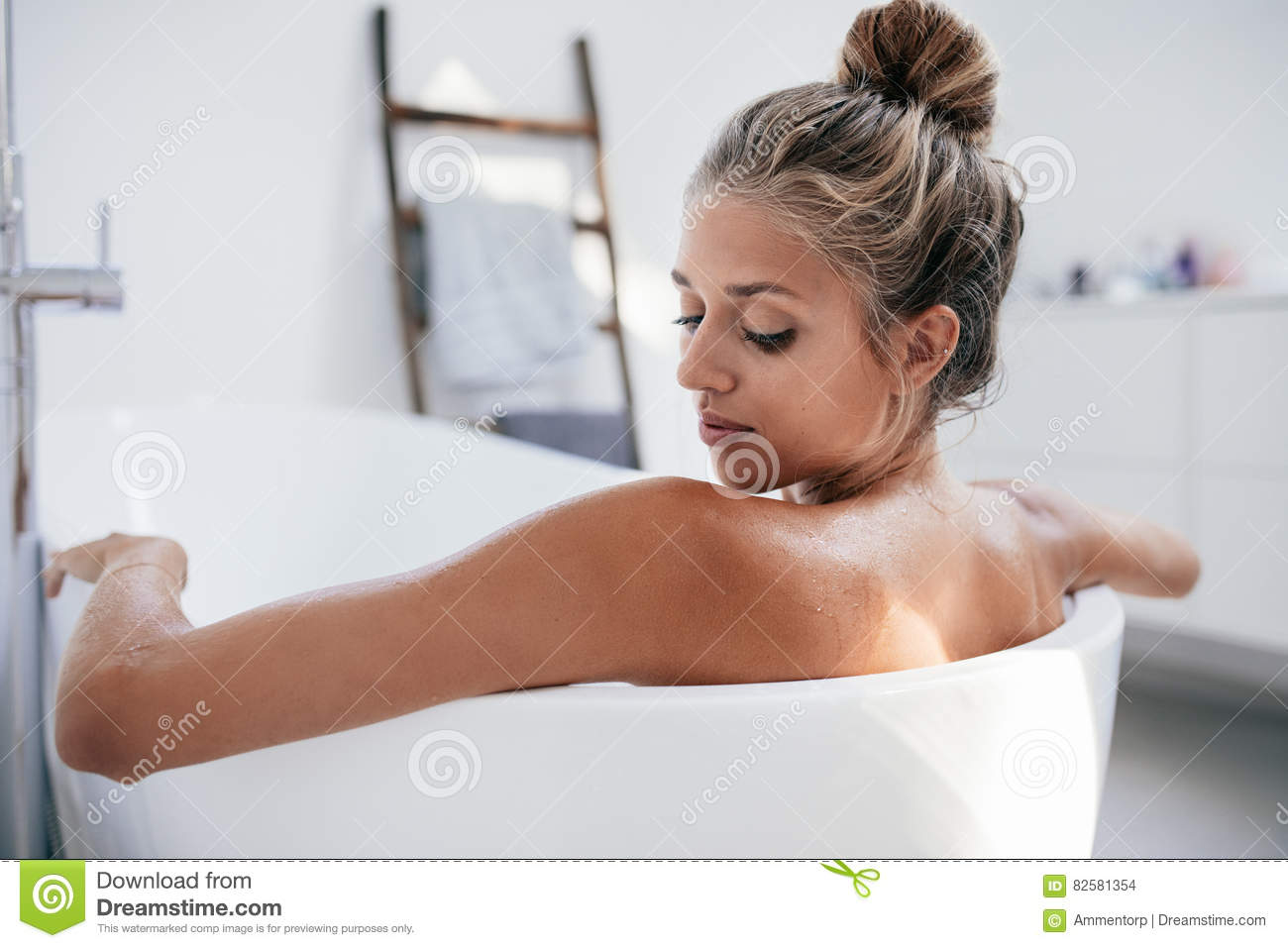 Young Woman Bathing In Bathtub Stock Photo - Image of care, bath ...