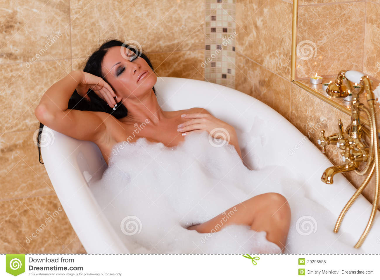 Young woman in a bathroom royalty free stock photo for Bathroom photos of ladies