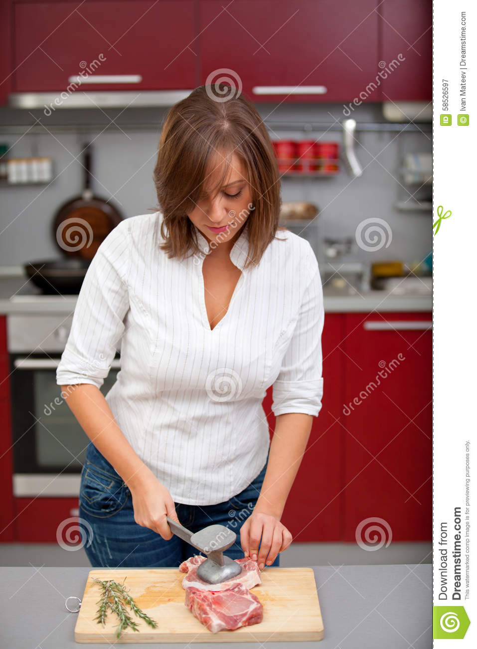 Young Woman Beating A Steak Stock Image Image Of