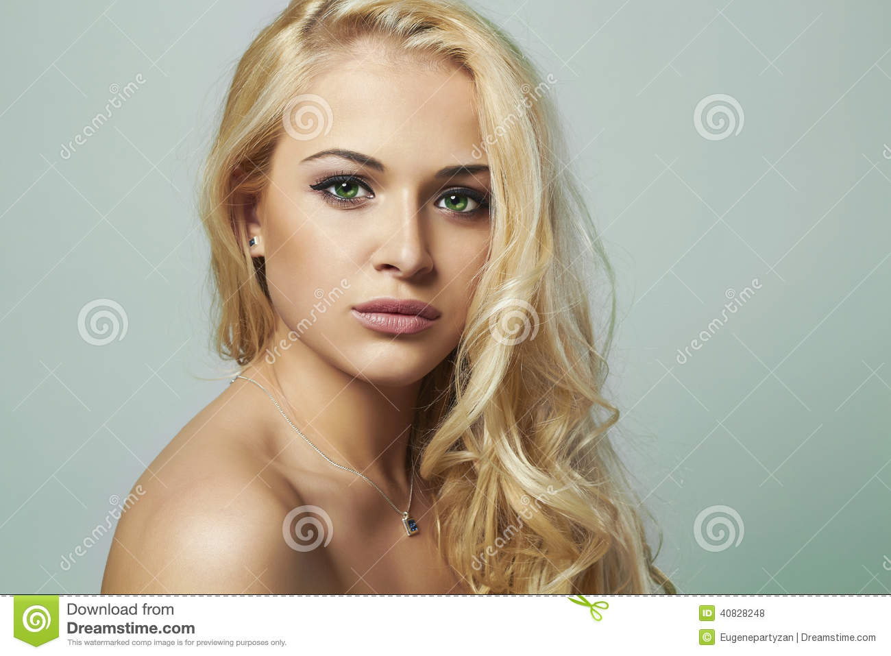 Young Woman Beautiful Blond Girl With Green Eyes Curly Hair Stock
