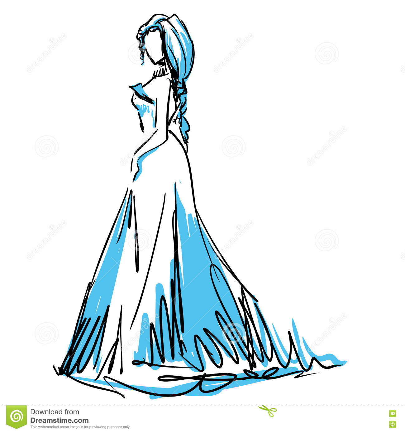 Young Woman In Beautiful Evening Dress. Fashion Sketch Stock Vector ...