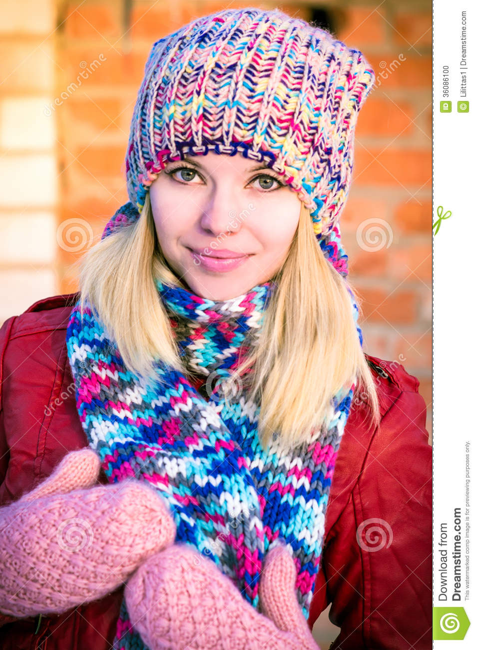 Young Woman Beautiful Happy Smiling Face Winter Time Stock Photo Image Of Lady Mittens 36086100