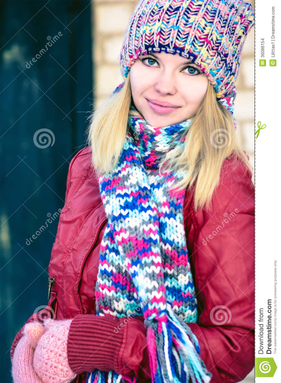 Young Woman Beautiful Happy Smiling Face Winter Time Stock Photo Image 36086154