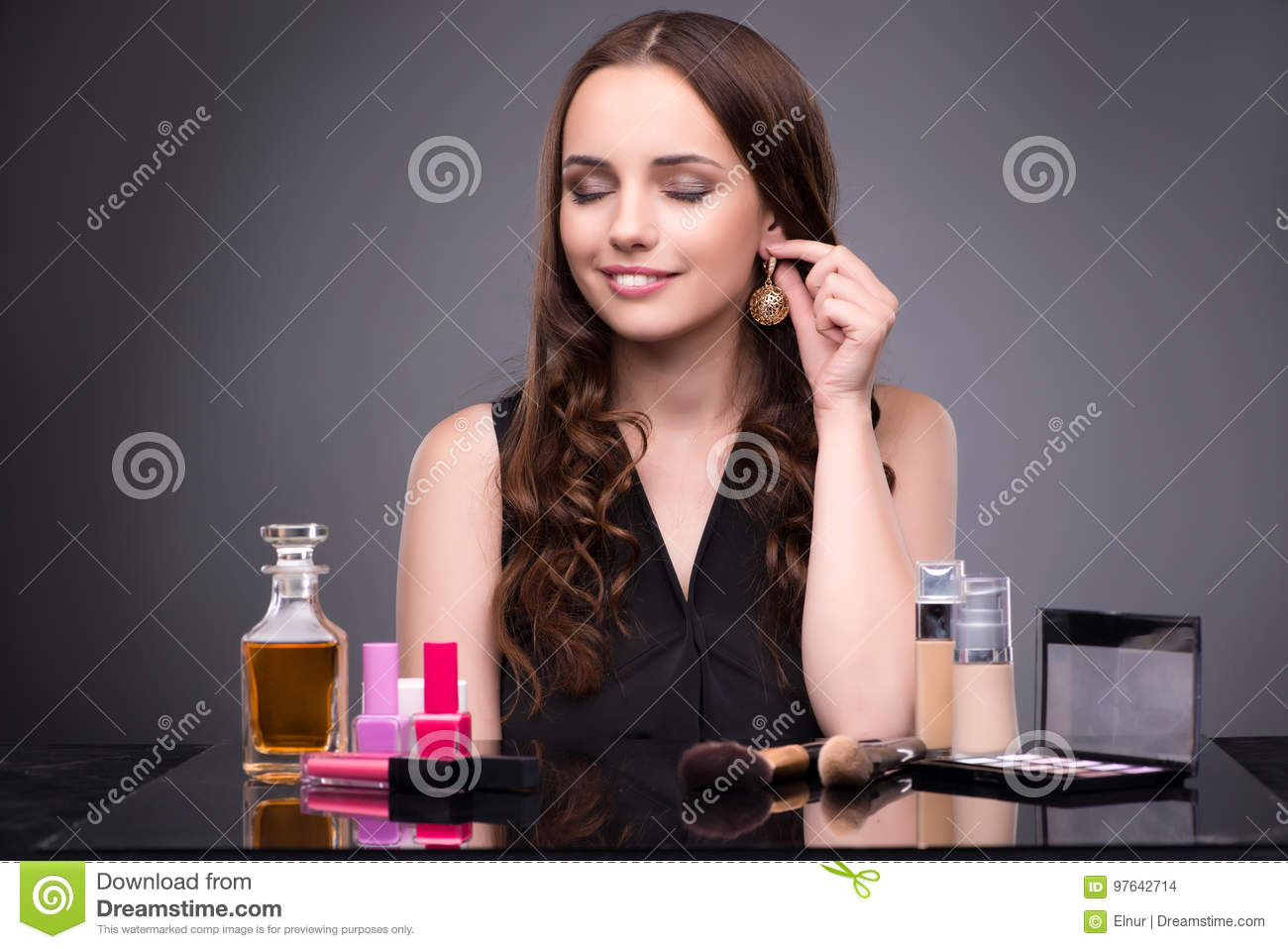 The young woman in beauty make-up concept
