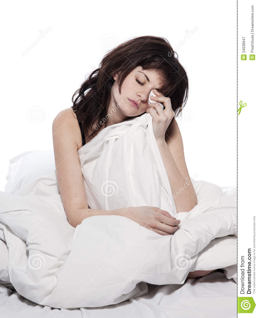 young woman in bed awakening tired insomnia hangov stock image image 34038947. Black Bedroom Furniture Sets. Home Design Ideas