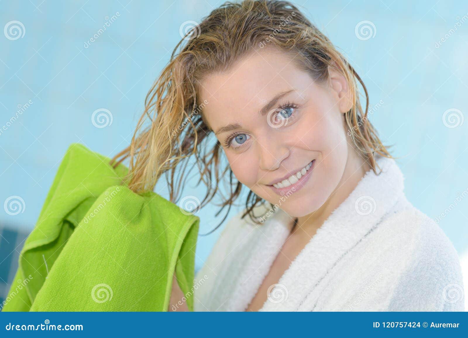 Young Woman Bed Room Drying Hair Towel Bathrobe Morning ...