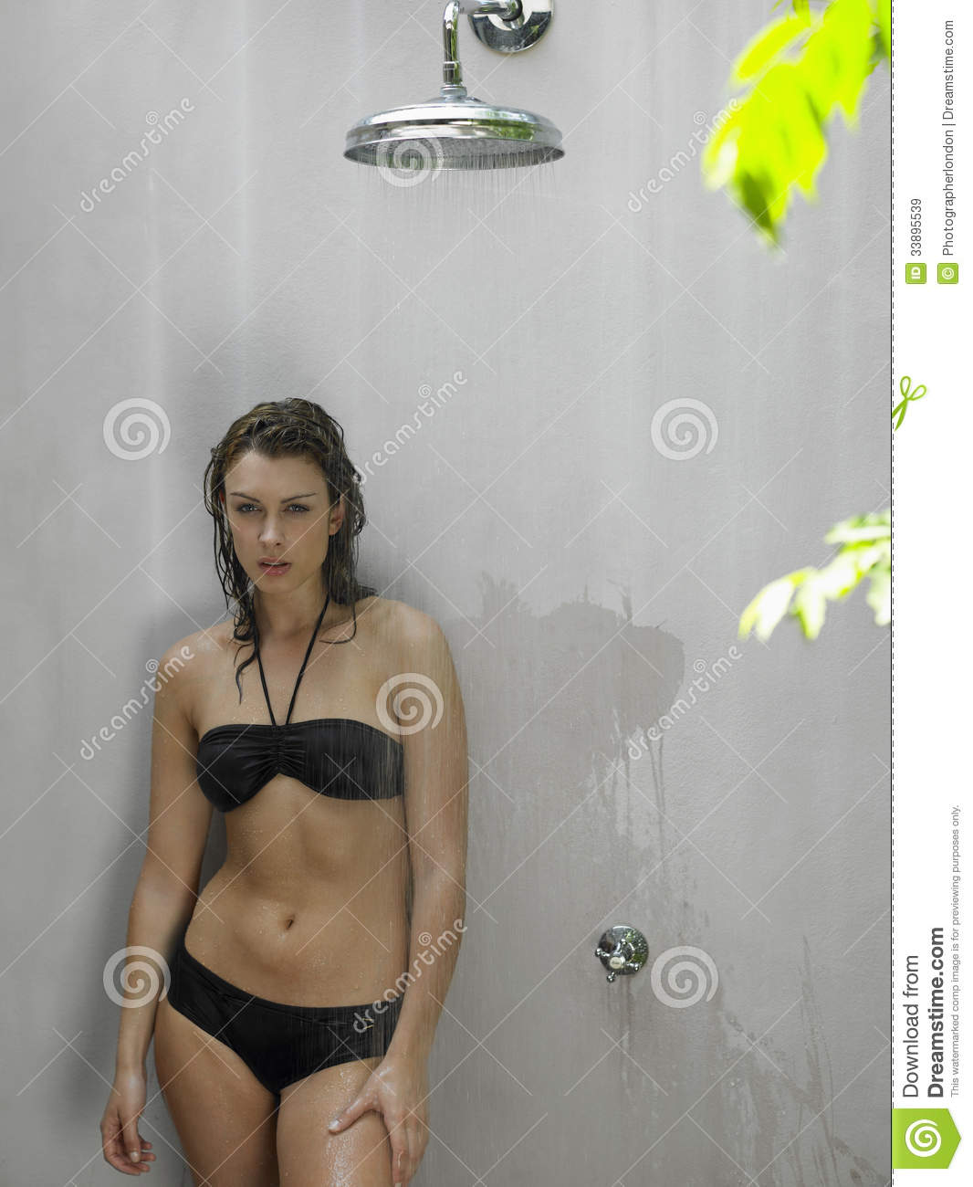 Young Woman In Bikini Showering Royalty Free Stock Images - Image ...