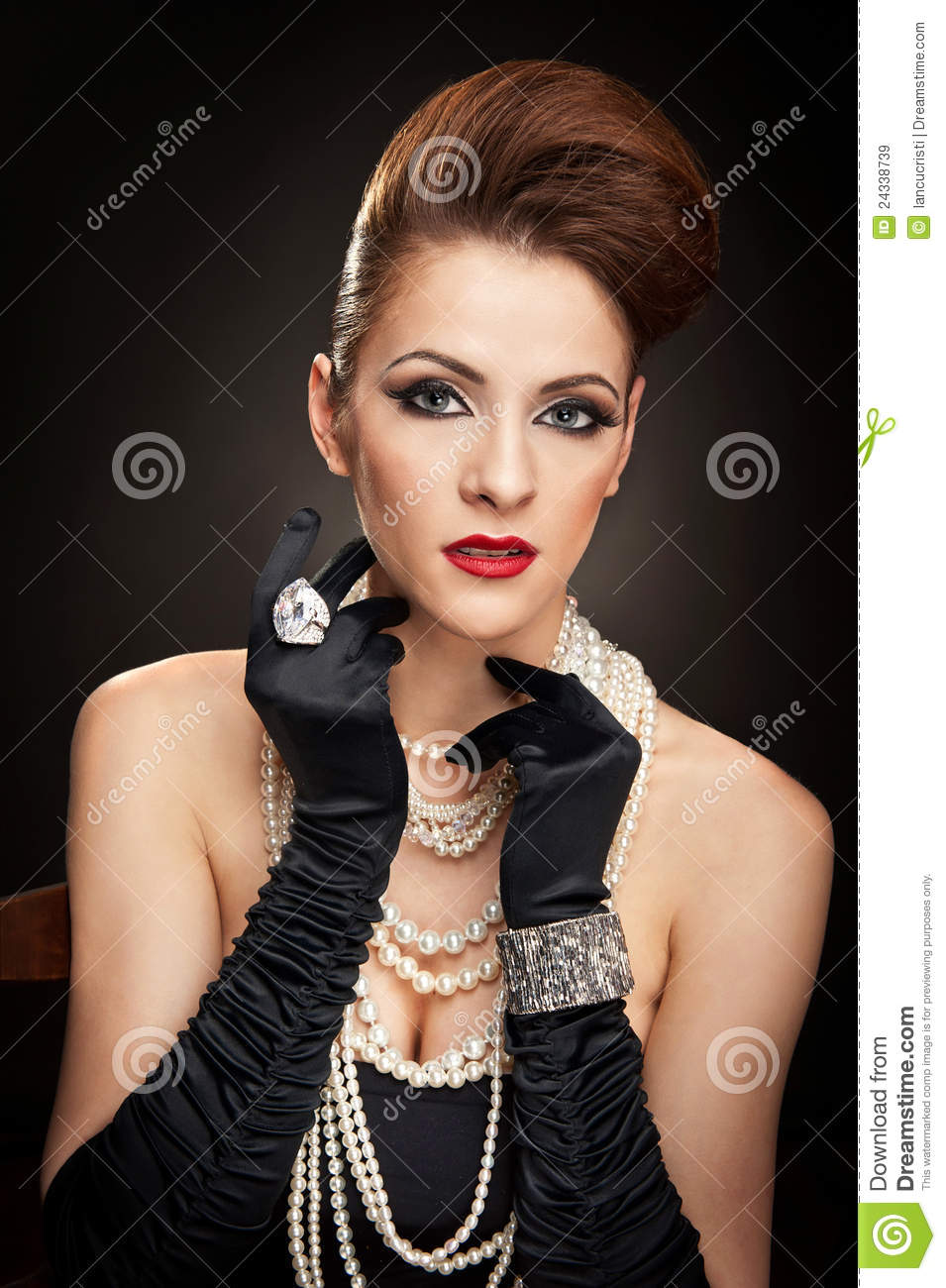 27332f87e Young Woman In Black Dress And Gloves Stock Image - Image of ...