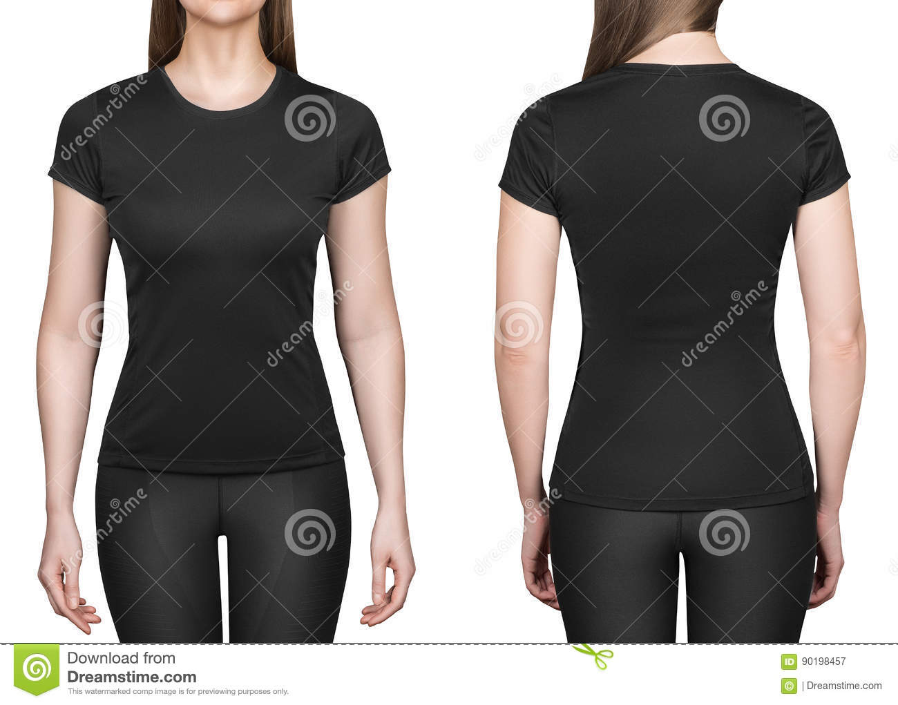 Young woman in black polo shirt white background