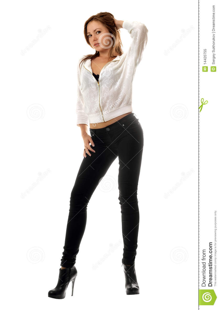 ... Woman In Black Tight Jeans Royalty Free Stock Photo - Image: 14420755