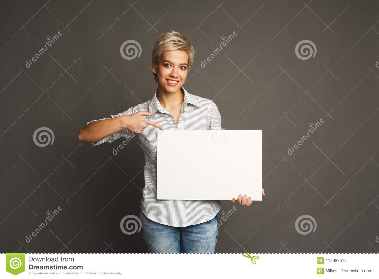 Young woman with blank white paper