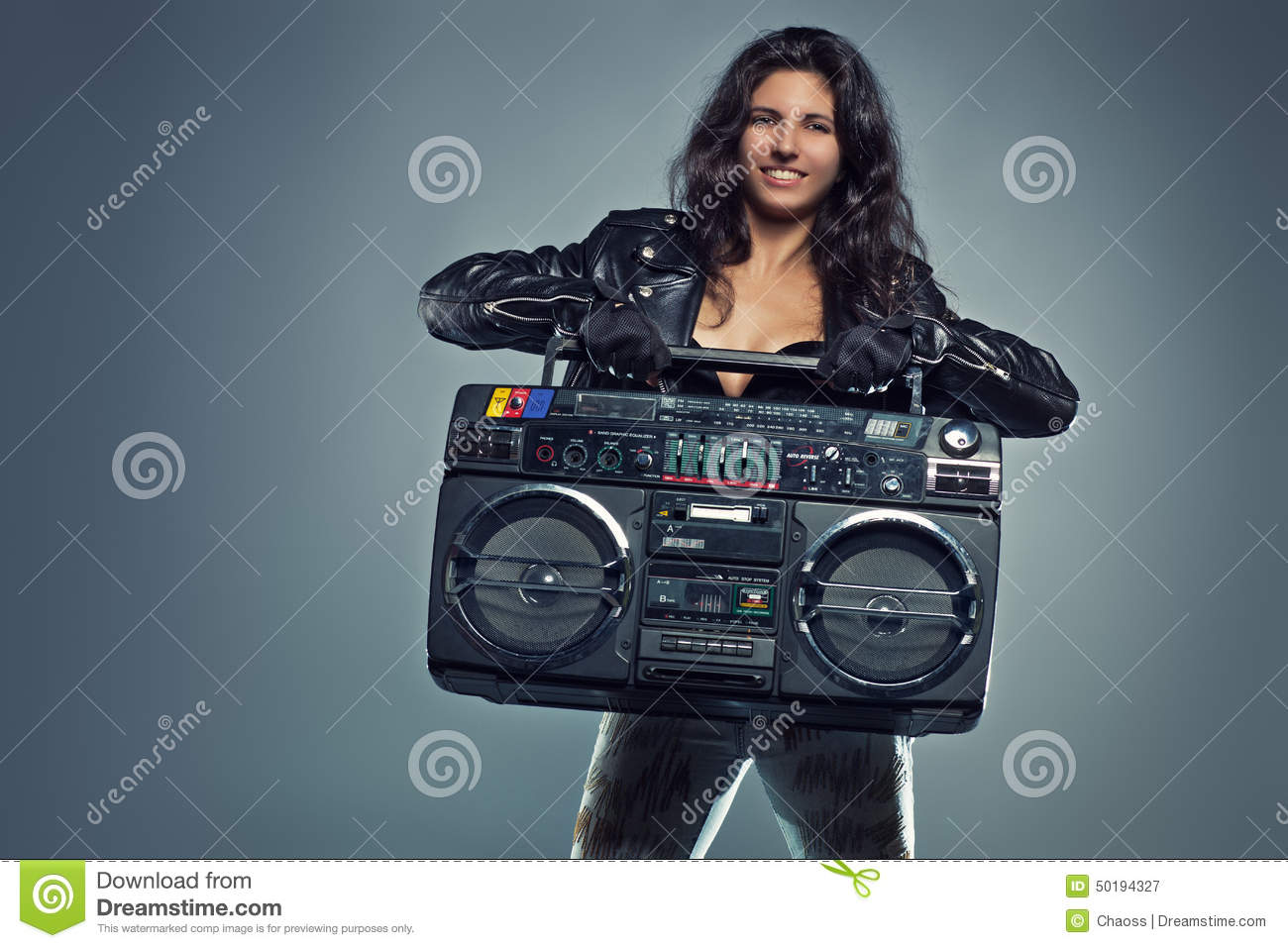 Young Woman With Boom Box Stock Photo - Image 50194327-6484