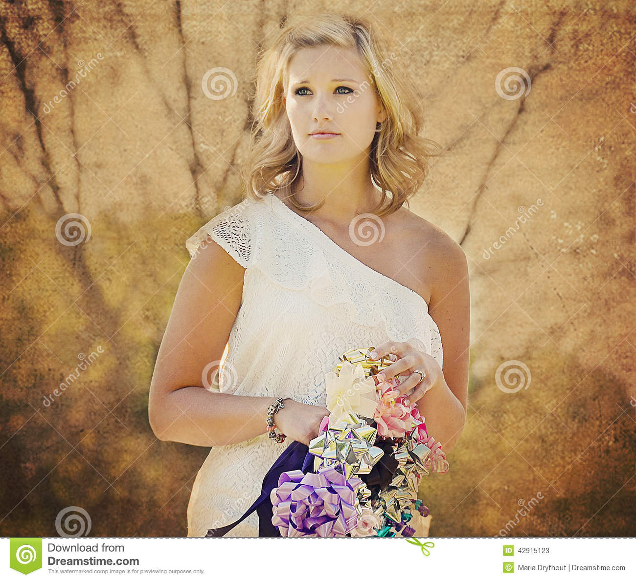 Young woman with bow bouquet